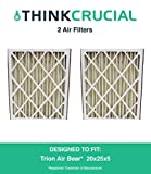 2 Trion Air Bear Filters 255649-102 Pleated Furnace Air Filter 20x25x5 MERV 8, Designed & Engineered by Crucial Air