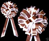 BROWN WHITE WEDDING 8'' PULL PEW BOW BRIDAL DECORATION
