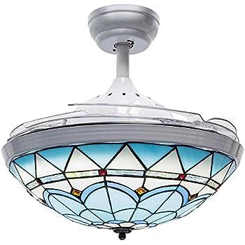 Huston Fan 42 Inches Blue Ceiling Fan Light Retractable