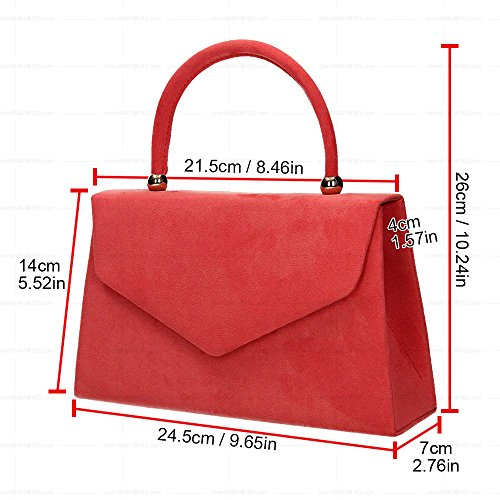 Wocharm Clutch Envelope Girls Velvet Womens Red Tote Prom Bag Purse Bag Bag Wedding Suede Party ZqApZwvr