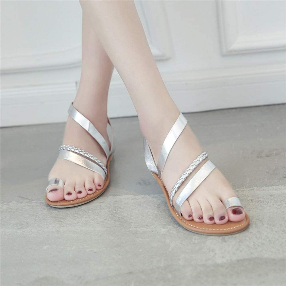 QIMITE Flip-Flop Zapatos Sandalias Planas Mujer Verano Tiras bajo tal/ón Plano Flip Flop Zapatos de Playa Sandalias de Mujer Zapatos de Mujer Rhinestones Plata