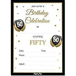 50th Birthday Invitations with Envelopes (30 Count) - 50 Fifty Year Old Anniversary Party Celebration Invites Cards