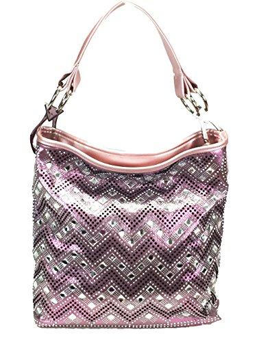 Gem Sparkle - Zzfab Sparkle Gem Chevron Rhinestone Hobo Bag with Extra Shoulder Strap (PInk)