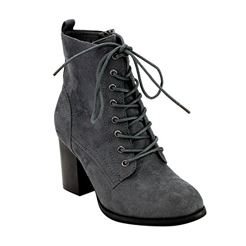 Heel GF08 High Zip Up Grey Block Lace Womens Combat Side Ankle Beston Booties f0qg8wdw