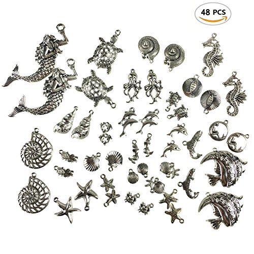 48PCS Alloy Antique Silver Mixed DIY Ocean Fish & Sea Creatures Charms Pendants for Making Bracelet and Necklace by (Tiny Charms)