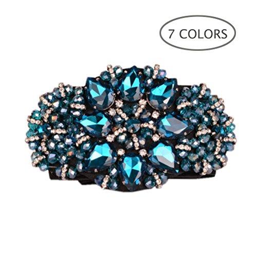 Dark Blue Crystal - Dorchid Women Rhinstone Belt Full Crystal Buckle Cummerbund Wide Elastic Waistband 7 Colors Blue
