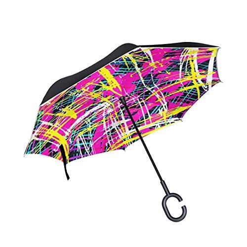 Ladninag Inverted Reverse Umbrella Graffiti Street Art Windproof for Car Rain Outdoor