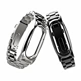 Glumes Stainless Steel Watch Band for Xiaomi Mi Band 2 Wrist Strap Metal Wristband (black)