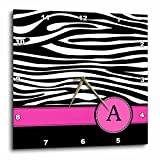 zebra print wall pics - 3dRose dpp_154272_1 Letter A Monogrammed on Black and White Zebra Stripes Animal Print with Hot Pink Personal Initial Wall Clock, 10 by 10-Inch