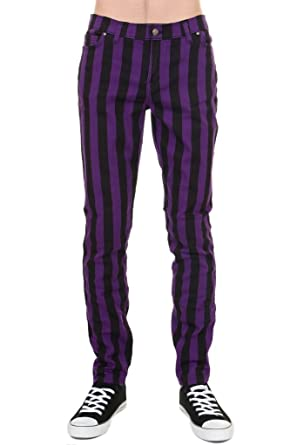 765a19e176e789 Mens Indie Vintage Retro 60s 70s Mod Black Purple Striped Stretch Skinny  Jeans 28 Regular