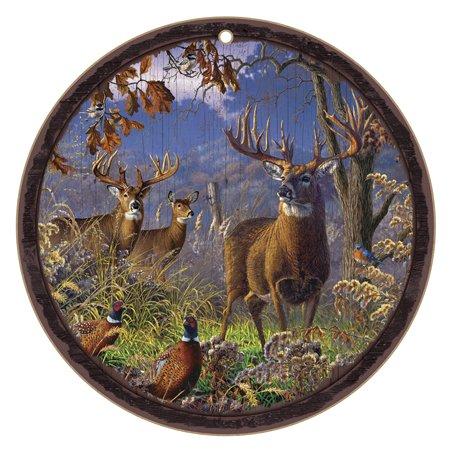 (SJT22105) Deer (scenic image with three deer & birds) 10