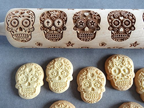 SKULLS engraved rolling cookie cutter product image