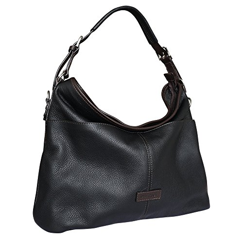 Chiarugi City Style Hobo Bag Leather Bucket Bag - Black