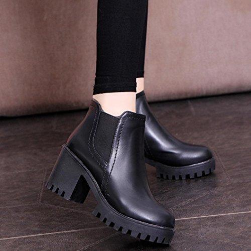 Transer® Damen Hochhackige Kurze Stiefel Hoch Wasserdichte Plattform Kunstleder Herbst Winter Stiefel Schuhe Schwarz