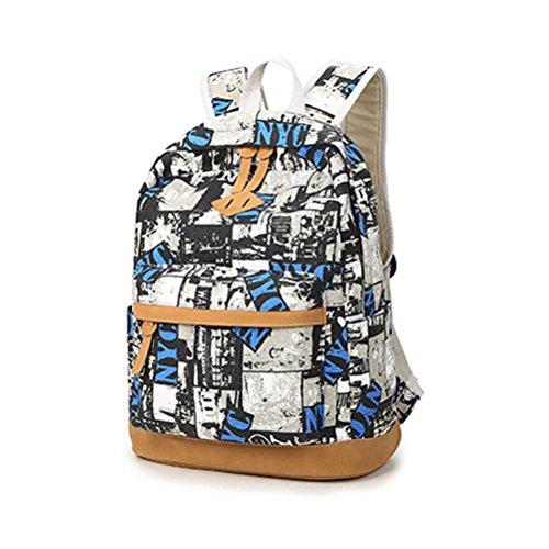 Inwagui Mädchen Fashion Canvas Rucksack Schulrucksack Studentensegeltuch Rucksack für Teenager-Schwarz