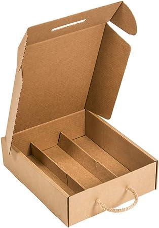 Kartox   Estuche para 3 botellas  Caja de cartón para cava o champagne   Caja de color kraft   4 Unidades: Amazon.es: Oficina y papelería