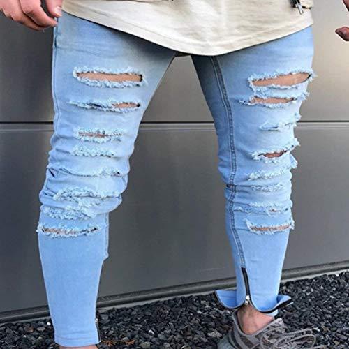 Denim Da Mode Uomo Pantaloni Fori Lavati Di Matita Color Bolawoo Ruggine Dritta Strappati Decorazione A Marca Stretch Jeans Con 1850 In Stropicciatura Chiusura Casual P5xqnwCa4n