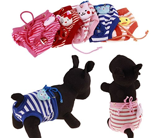 Fashion Shop Pet Apparel-M Pie Dog Diaper Dog Sanitary Pantie Color Random (Pack of 2)