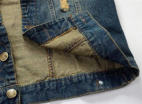 Monopetto Metallo In Ragazzi 1 Maniche Nappa Uomo Inverno Cappotti Blu Denim Tasche Gilet Senza Strappata Classiche Autunno Cintura Da Blue Giacca Con YwZIX