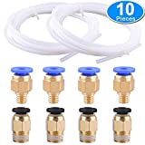 3D Printer - SIQUK 2 Pieces PTFE Teflon Tube (2 Meters) + 4 Pieces PC4-M6 Quick Fitting + 4 Pieces PC4-M10 Straight Pneumatic Fitting Push to Connect for 3D Printer 1.75mm Filament