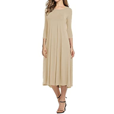 Women Casual Pleated Dress Spring Three Quarter Sleeves Midi Dresses Party Vestidos O-Neck Work Wear Dress S-5Xl at Amazon Womens Clothing store:
