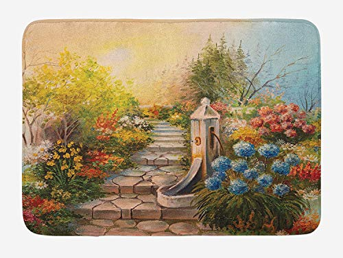 (Flower Bath Mat, Opium Poppy Field and Beautiful Yard Sunset Over The Ocean Under The Clouds Picture, Plush Bathroom Decor Mat with Non Slip Backing, 23.6 W X 15.7 W Inches, Multicolor)