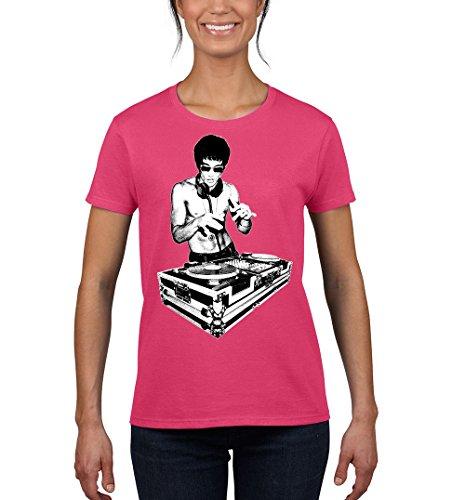 DJ Bruce Lee Kung Fu Design T-shirt for Women Popular Round Neck Tee Shirt(Pink,Small)