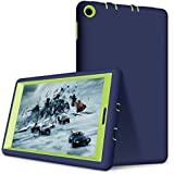 Hocase Fire 7 2017 Case Hybrid Dual Layer Shockproof Silicone Bumper Hard PC Bumper Protective Case for All-New Fire 7 Tablet (7th Generation, 2017 Release) - Navy Blue / Lime Green