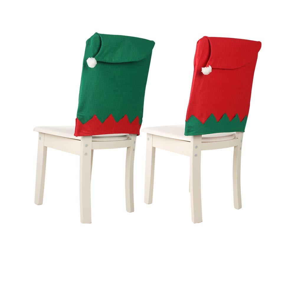 Color Verde Firlar dise/ño de Elfos Rojo Funda para Silla de Pap/á Noel 6 Unidades