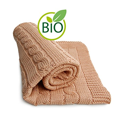 Organic Mocha Cotton (SonnenStrick 100% Organic Cotton Baby Blanket (Plait) Made in Germany Mocha)