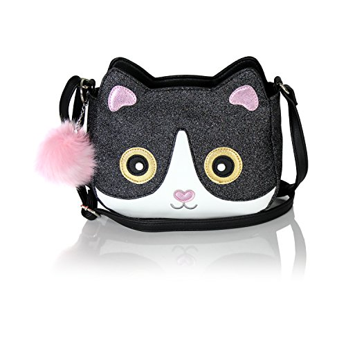 - Chic Kitty Metallic Crossbody Bag- Vegan Leather Glitter Small Purse with Cute Hipster Cat Design (Black Cat)