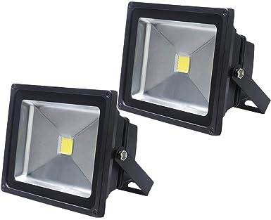 2X 50W Luz Foco Proyector LED Blanco Calido Foco Exterior Foco de ...
