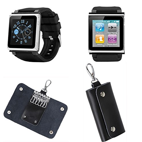 (PiGGyB Classic Watch Band Case Cover Leather Key Holder Case Set for Apple iPod Nano 6 6th Generation (Black))