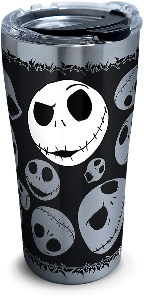 Tervis 1297808 Disney-Nightmare Before Christmas 25th Anniversary Stainless Steel Insulated Tumbler with Clear and Black Hammer Lid, 20oz, Silver by Tervis