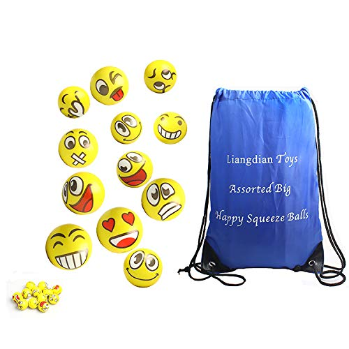 Custom Stress Ball (Z.H.B Assorted Big Happy Emoji Face Squeeze Balls for Stress Reducer / Anxiety Relieves (Perfect for Theme Party, Birthday Party) Fun Office Stocking)