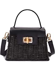 CoMay Crafts Wicker Rattan Bag Leather Straps For Women, 100% Handmade, Black