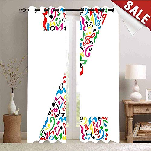 Hengshu Window Curtain Drape Collection of Vibrant Musical Signs and Notes in Shape of Capital Z Alphabet Font Customized Curtains W96 x L108 Inch Multicolor