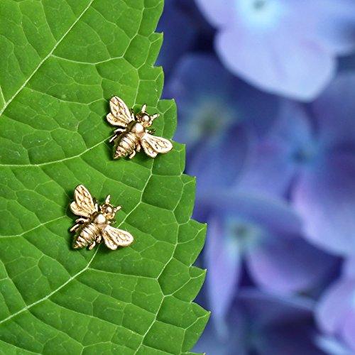Little Gold Bee Earrings . 24K Gold Vermeil . Honeybee Studs . Bumble Bee Post Earrings