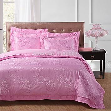 Luxus Pink Jacquard Gewebt Rose Bettwäsche Lyocell Satin Bettbezug