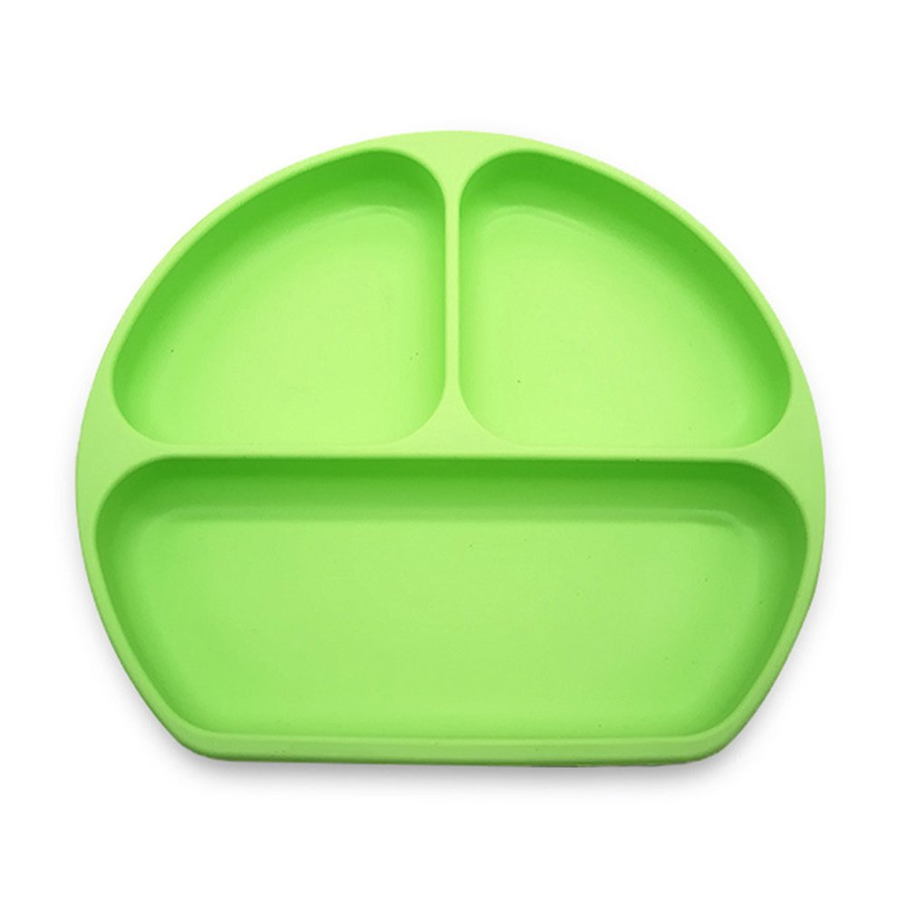 Silicone Suction Baby Plate, Strong Suction Ultra Thick Weaning Toddler Feeding Placemat with Divided Section Table Mat for Highchair and Travel (Green)