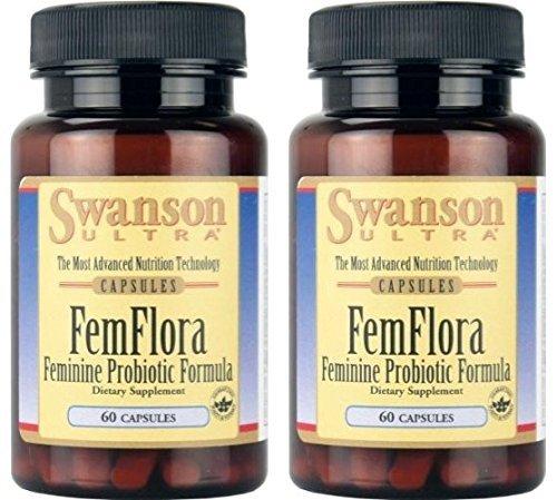 Swanson Ultra FemFlora Feminine Probiotic Formula -- 2 Bottles each of 60 Capsules