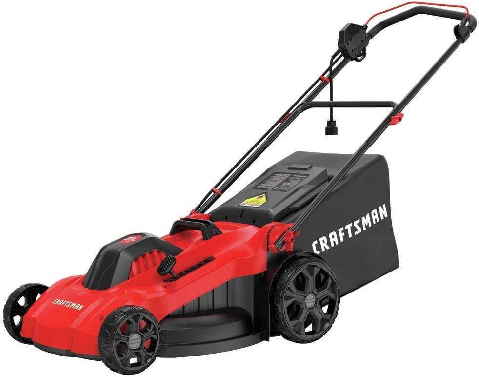 Electric Lawn Mower, 20-Inch, Corded, 13-Ah
