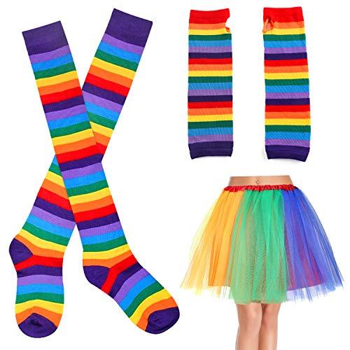 Beelittle Women's Rainbow Costume Sets Long Socks Gloves and Tutu Skirt (A) -