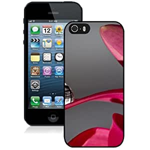 Beautiful Unique Designed iPhone 5S Phone Case With Macro Water Drop Pink Petal_Black Phone Case