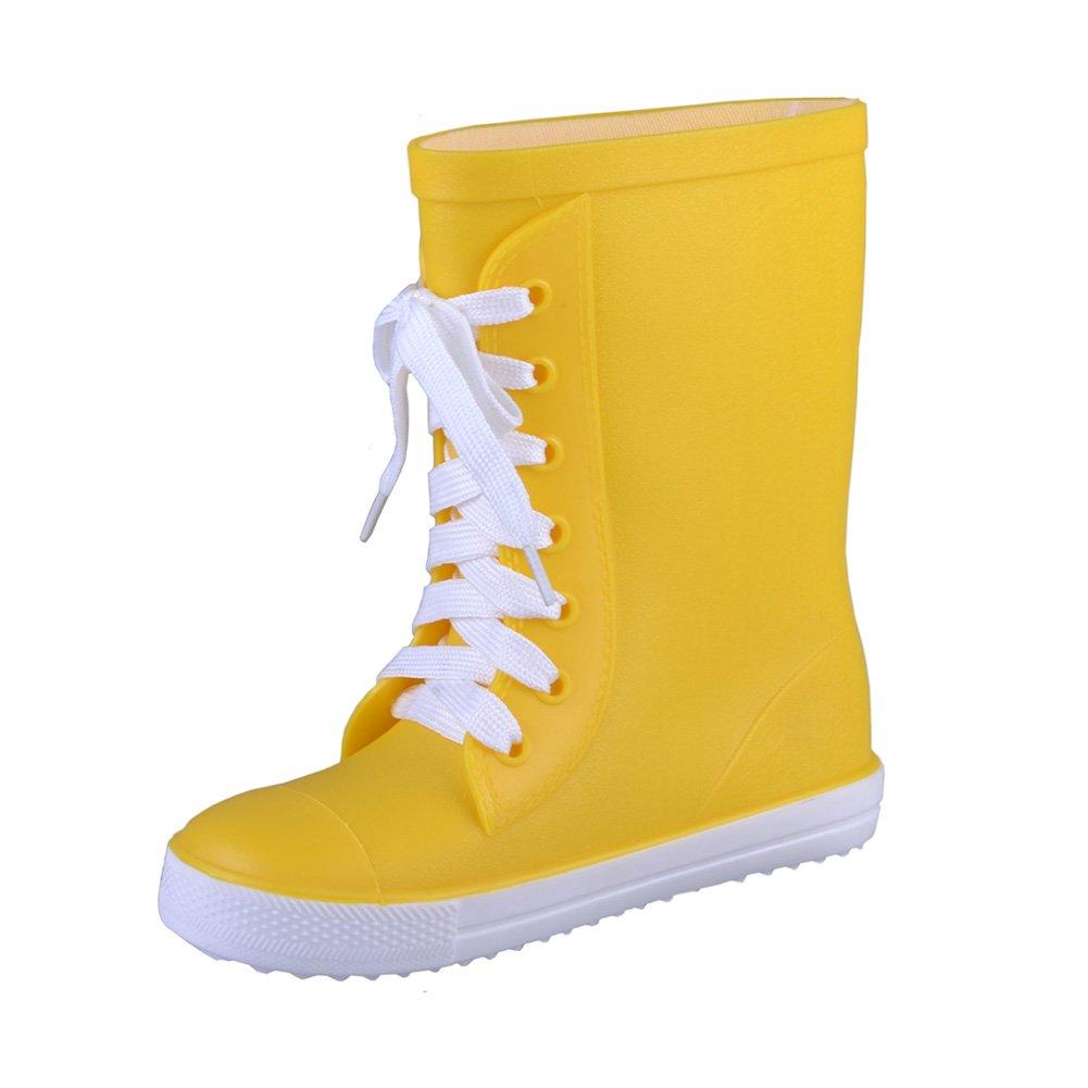 VICVIK Children Rain Boots Kids Lightweight Cute Waterproof Lace-up Raining Shoes(Toddler/Little Kid/Boy/Girl) (Toddler 9.5M, Yellow)