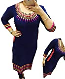 Selfie style Reeva Trendz Blue color Georgette Embroidery semi stitched kurti (Women's New Latest Fashionable Designer Party Wear Festival Best Lower Price Offer Blue Cotton Selfi Stitched Kurti (Size = XL)