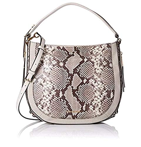 Michael Kors Womens Julia Leather Snake Print Shoulder Handbag Ivory Medium