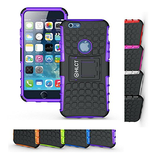 Price comparison product image iPhone 6s and iPhone 6 Case,  HLCT Rugged Shock Proof Dual Layer Case with Built In Kickstand for 4.7 Inch iPhone 6s and iPhone 6 (Purple)
