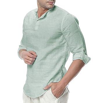 Hombre Bádminton Camiseta de Manga Corta de Algodón Henley