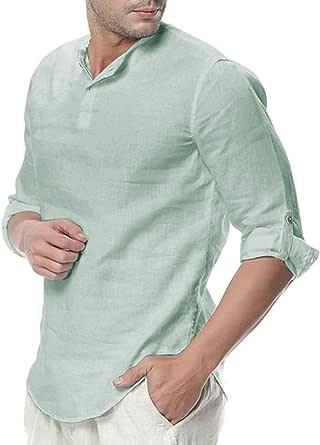 DOGZI Camisas para Hombre - Manga de Tres Cuartos de algodón y Lino Color sólido Casual Botón Camiseta